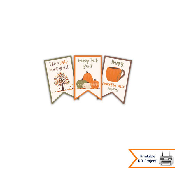 pumpkin spice gift tags halloween thanksgiving printables party favor decorations note cards