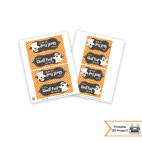 Halloween Ghost Poop Treat Bag Toppers, Printable Halloween Party Favors