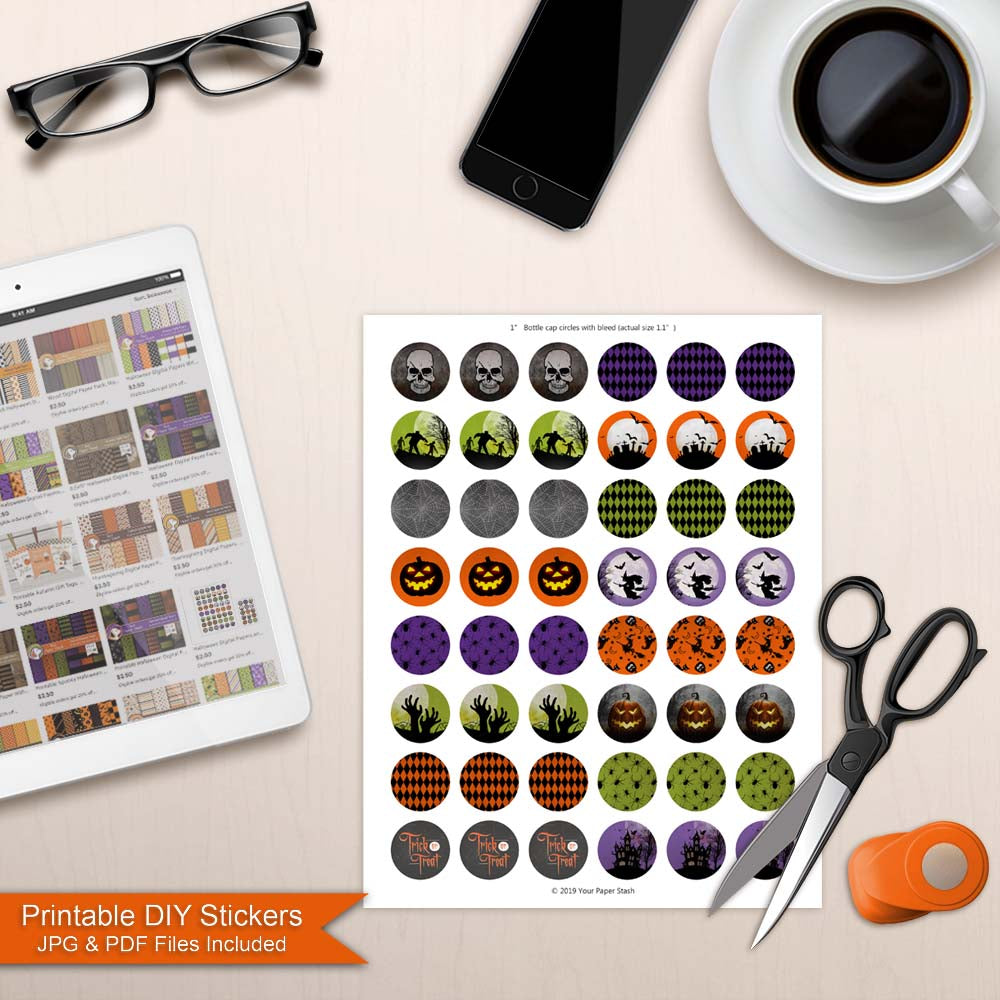 halloween printable bottle cap images small commercial use witch pumpkin walking dead trick or treat skull