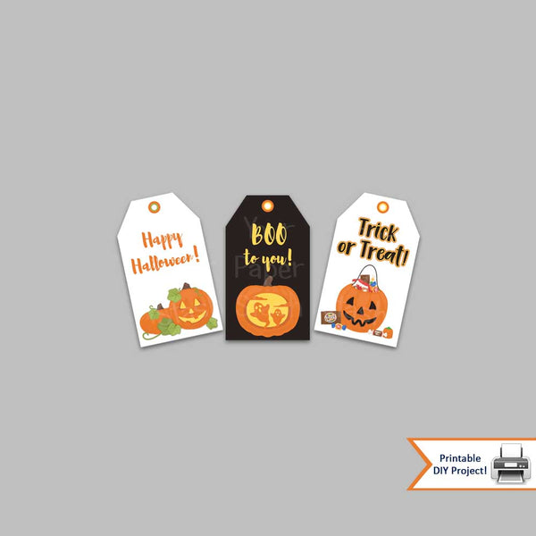 Printable Halloween Pumpkin Gift Tags / Boo Gift Bag Toppers