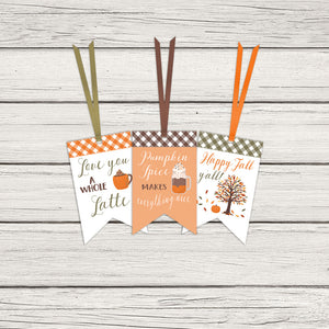 Pumpkin Spice Autumn Gift Tags for Halloween & Thanksgiving