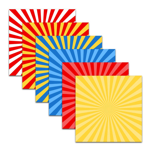 red blue yellow starburst sunburst big wide stripe patterns digital scrapbook paper background