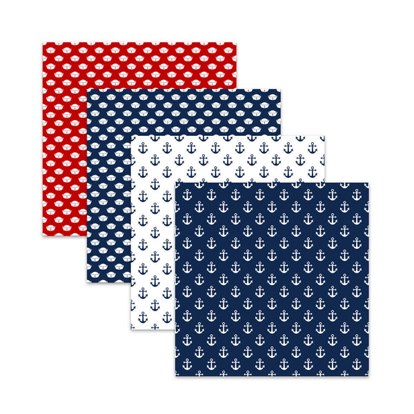 Navy Blue and Red Nautical Digital Scrapbook Papers, Nautical Patriotic Digital Papers & Patterns