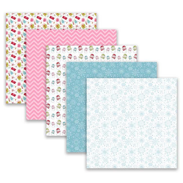 pink and blue scrapbook paper snowman presents snowflakes
