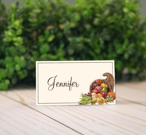 thanksgiving cornucopia place tent card