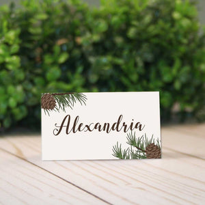 Woodsy Christmas Place Cards With Pine Cones for Rustic Barn Weddings & Dinner Parties