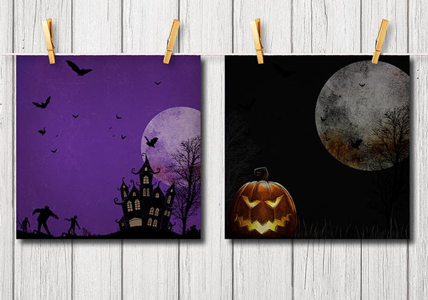 Textured Halloween Digital Scrapbook Papers w/ Haunted House Skulls & Spiders