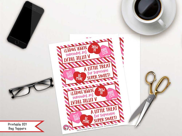 Valentine's Day Conversation Heart Candy Bag Toppers