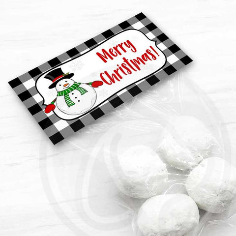 farmhouse christmas buffalo check snowman treat bag toppers candy bags donut bags instant download