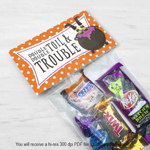 orange double double toil and trouble printable treat candy favor bag toppers for halloween parties trunk or treat trick download print kids craft supplies