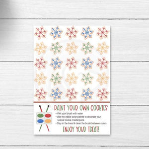 christmas paint your own cookie printable card tag kids christmas craft baking project supplies sugar cookie decorations