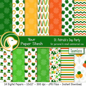 st patricks day digital scrapbook papers
