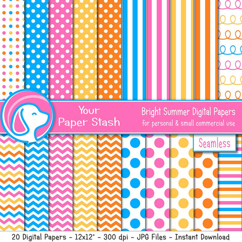 Bright Summer Digital Scrapbooking Papers in Hot Pink and Aqua Blue, Polka Dots Chevrons Stripes
