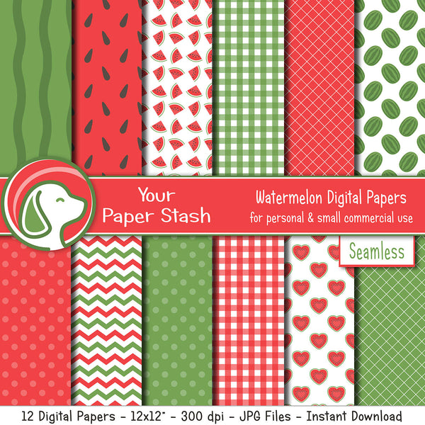 summer watermelon digital scrapbook paper backgrounds gingham chevrons polka dot lattice patterns designs commercial use