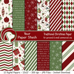 Traditional Christmas Digital Scrapbook Paper Pack