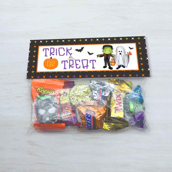 halloween trick or treat kids candy favor treat bag toppers frankenstein ghost bats kids halloween party