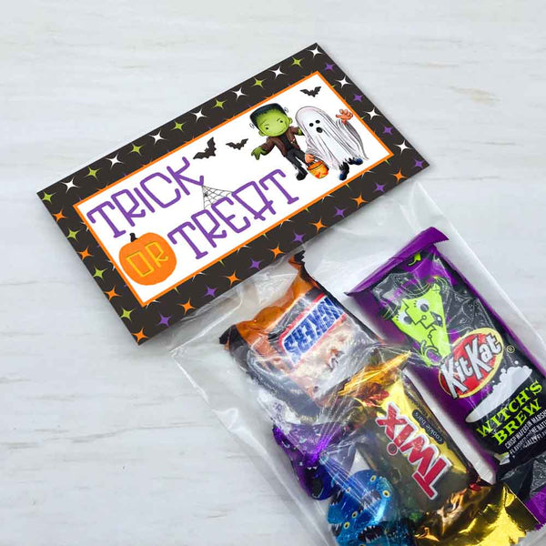 kids halloween party treat candy goody bag toppers diy halloween party decor frankenstein ghosts bags