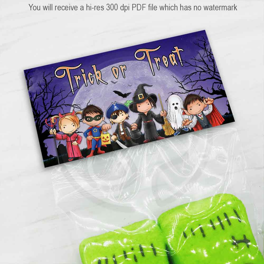 halloween trick or treat printable bag toppers cute kids halloween printables instant download cookie candy goody bag toppers your paper stash