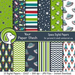 Space Themed Digital Scrapbook Papers And Backgrounds