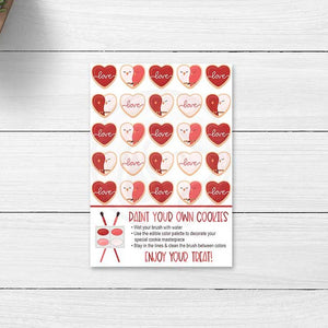 printable valentines day cookie cards tags paint your own cookie card lovebirds love xoxo kids crafts valentines classroom party ideas teachers