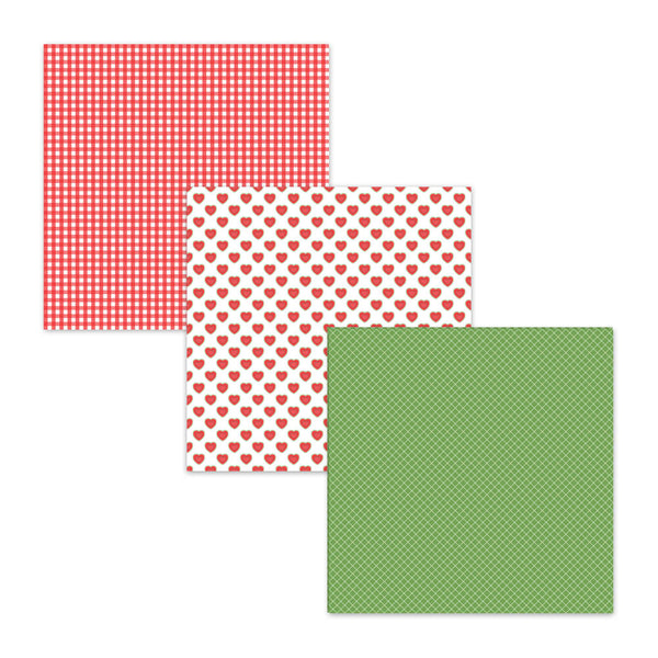 red gingham digital scapbook paper heart watermelon scrapbooking pages
