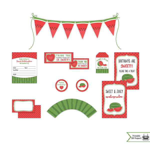 Printable Watermelon Summer Birthday Party Decorations