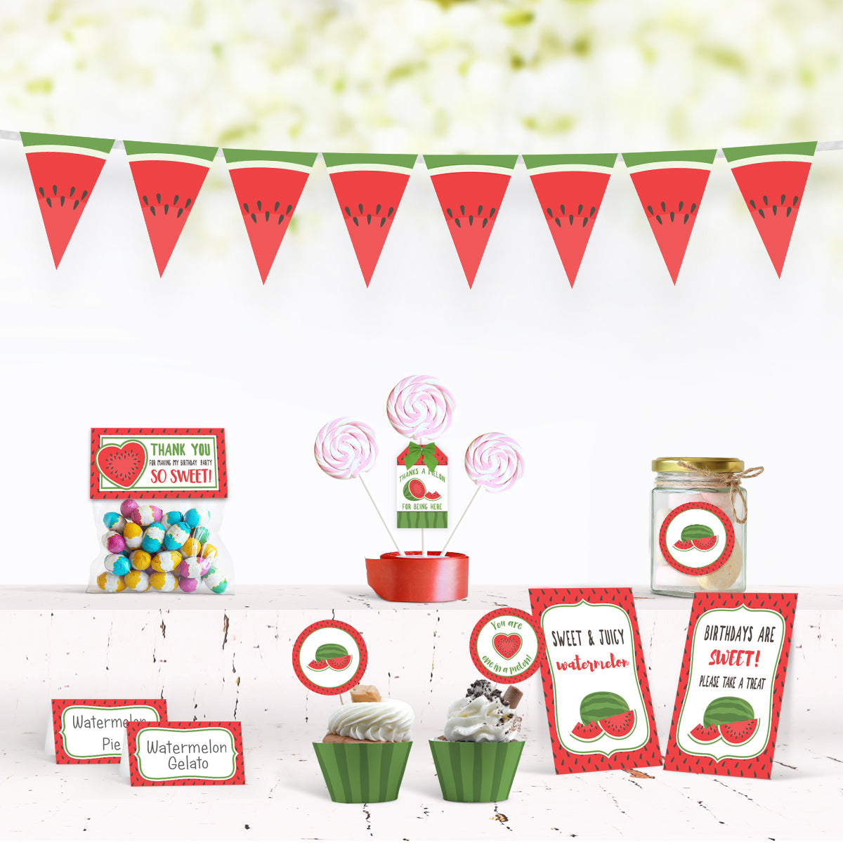 printable watermelon summer birthday party decorations banner bunting cupcake wrapper topper treat bag toppers thank you bags gift tags watermelon signs