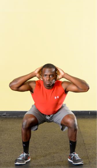 Bodyweight double-leg squat.