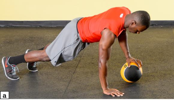 Figure 5.7 MB single-arm push-off: starting position; lower body to ground; push up until right arm is off the ground and left arm is locked out.