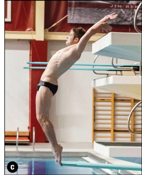 Figure 4.4 The third essential position for () backward and () reverse takeoffs for somersaulting dives: the C position.