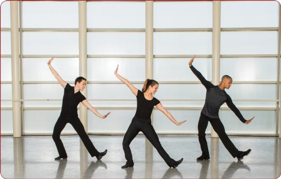 These jazz dance students are performing the scissor step, a quick footwork step that requires the coordination of a small leap, a touch, and a ball change.