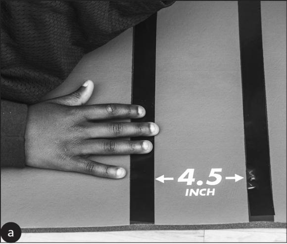 Figure 8.2 Close-up of fingertips sliding in the starting position. Close-up of fingertips sliding in the ending position.