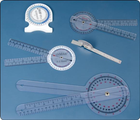 Figure 6.4 Different types of goniometers used to measure range of motion.