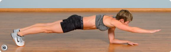 Figure 5.3 Plank variations: basic front plank; front plank with leg lift; front plank with arm lift; front plank with opposite arm and leg lift.