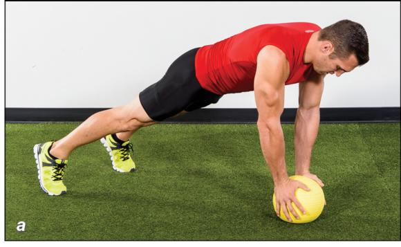 Figure 5.22 Medicine-ball jam: start position; descending and bringing chest to ball; ascending explosively as high as possible.