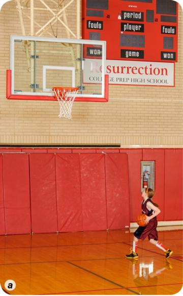 Proper footwork and shot technique for a right-hand layup a.