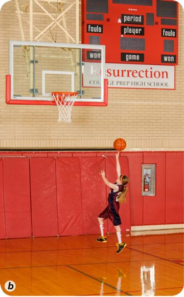 Proper footwork and shot technique for a right-hand layup b.