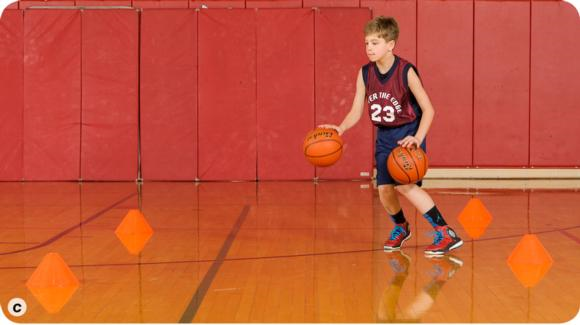 Move to a same-time dribble in a Z pattern (c).