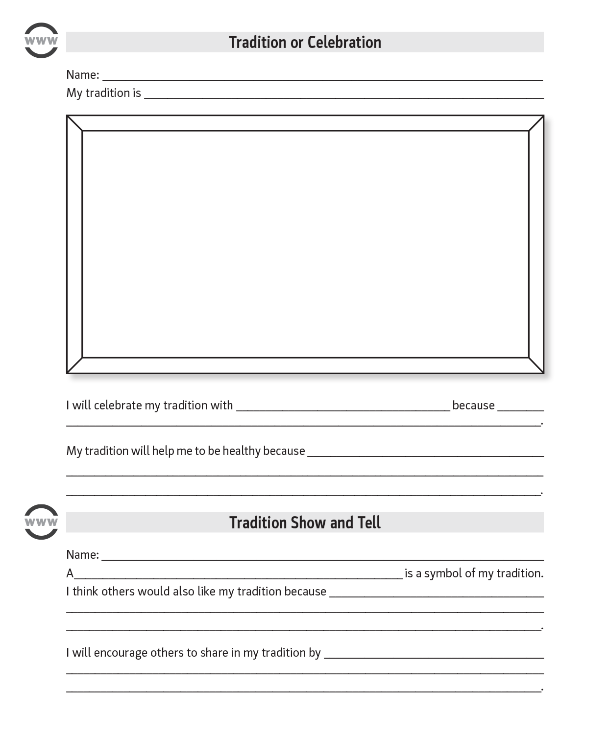 Tradition Show and Tell worksheet