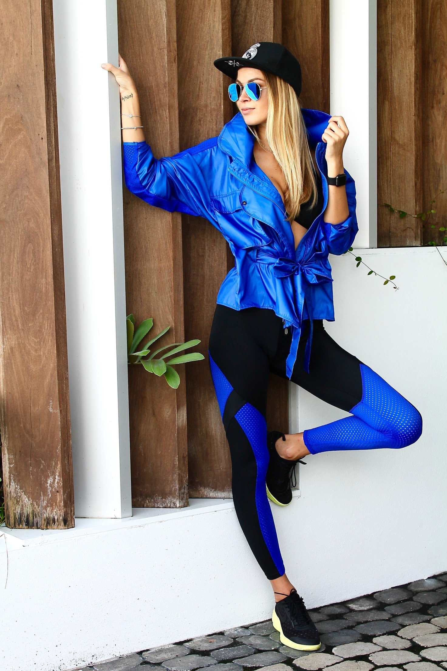 Marathon Mesh Legging - Royal Blue / Black