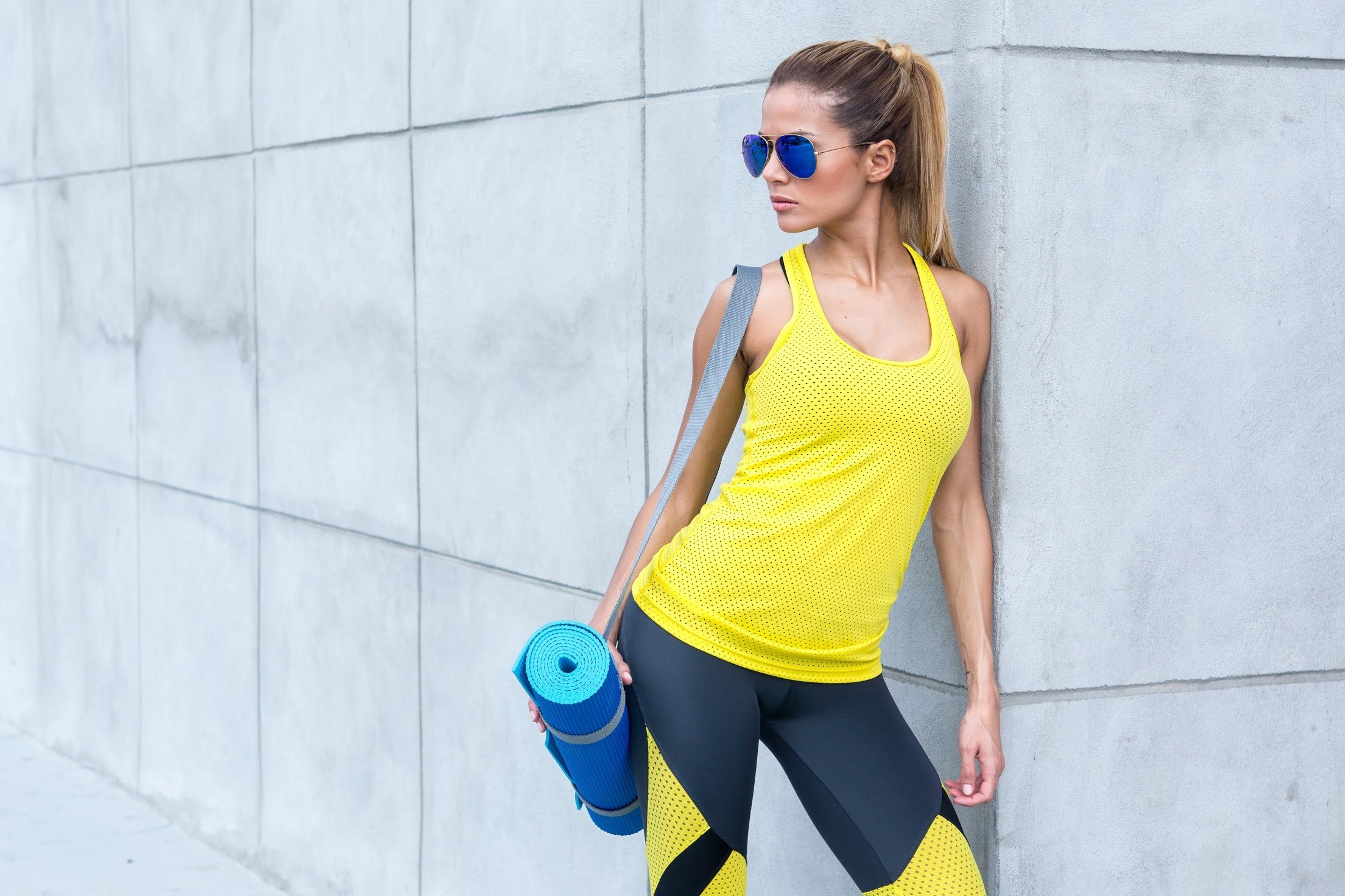 Motion Mesh Tank Top - Yellow