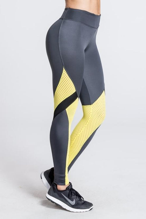 Marathon Mesh Legging - Yellow / Grey