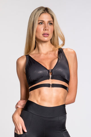 Striker Mesh Crop Cap Top - Black
