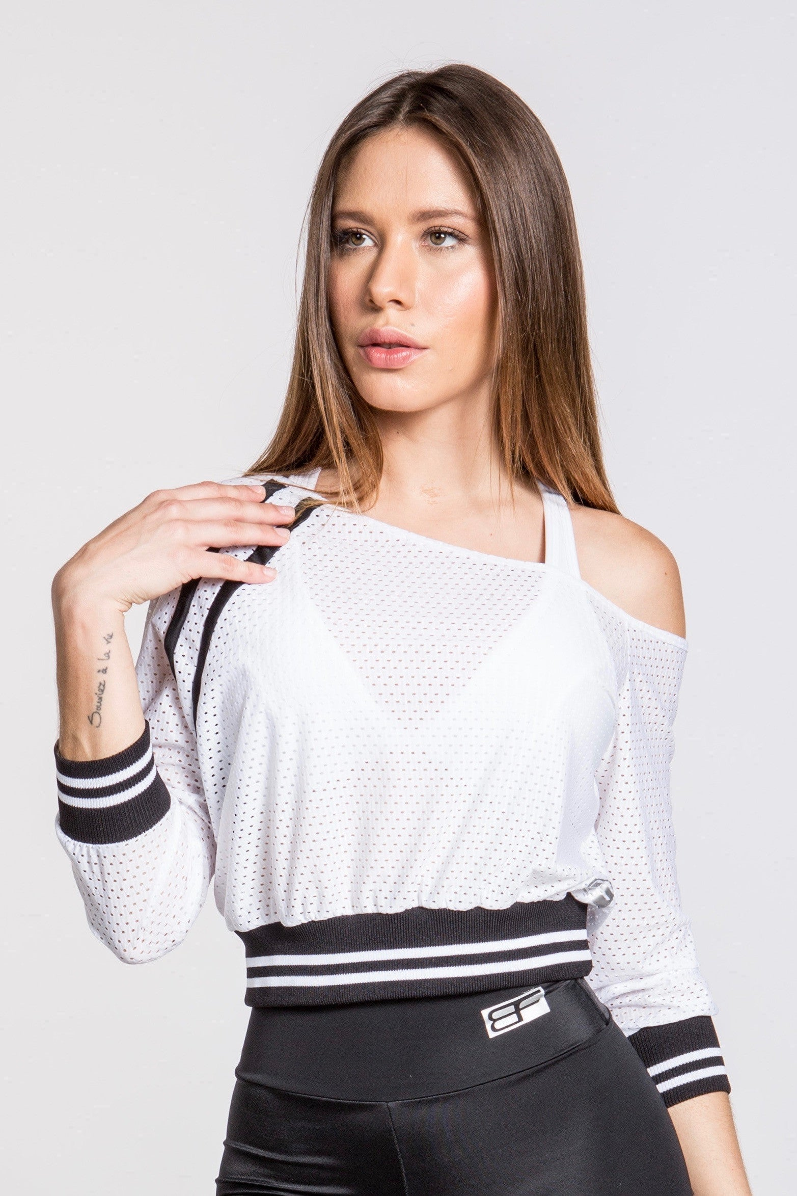 Jersey Stripe Off Shoulder Top - White