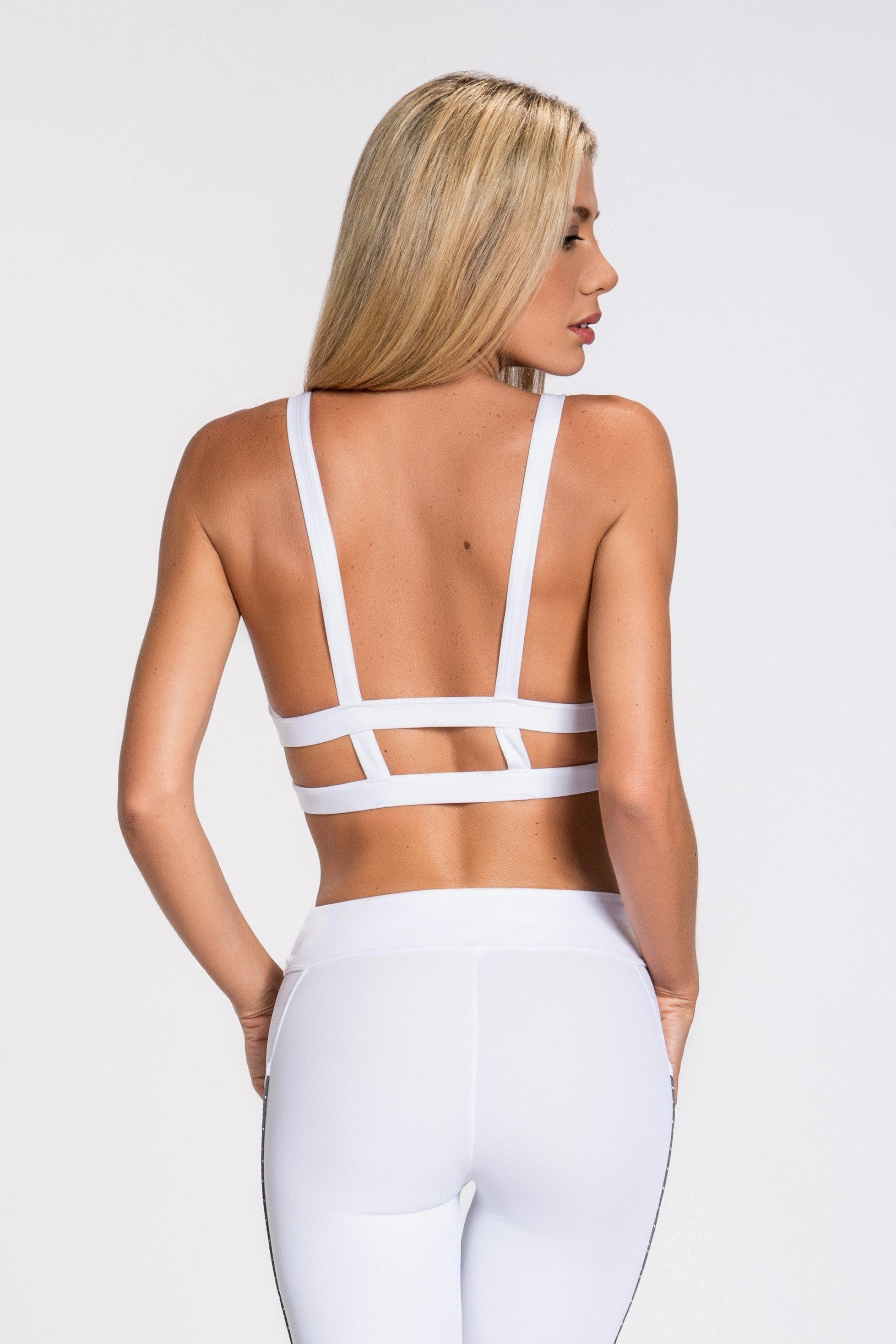 Elektra Caged Back Bra Top- White/Silver/Gray