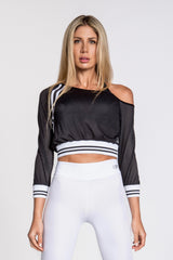 Jersey Stripe Off Shoulder Top - Black