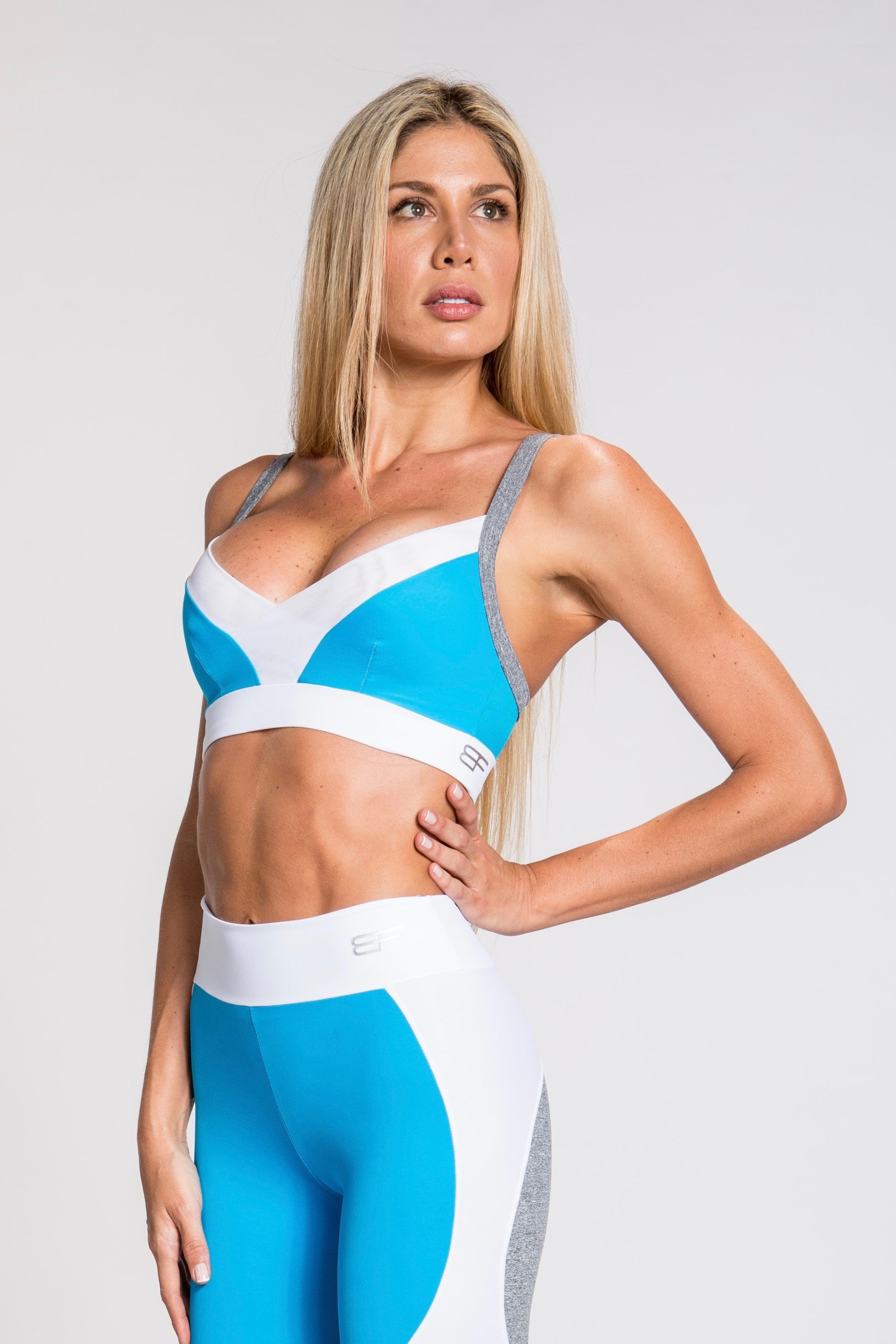 Flexy Feline Triangle Bra - Gray/Turquoise/White
