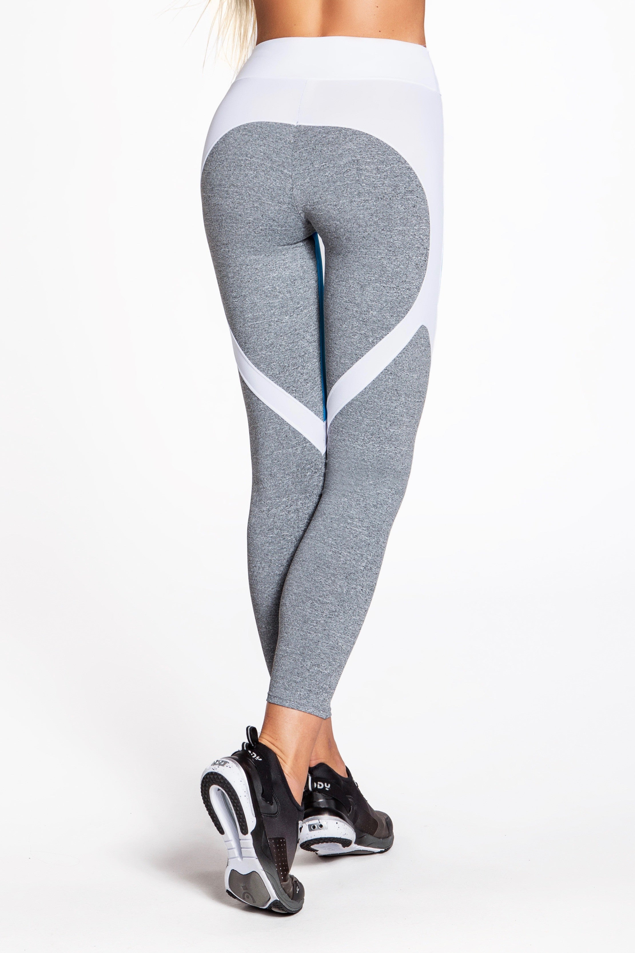 Flexy Feline Leggings - Gray/Turquoise/White
