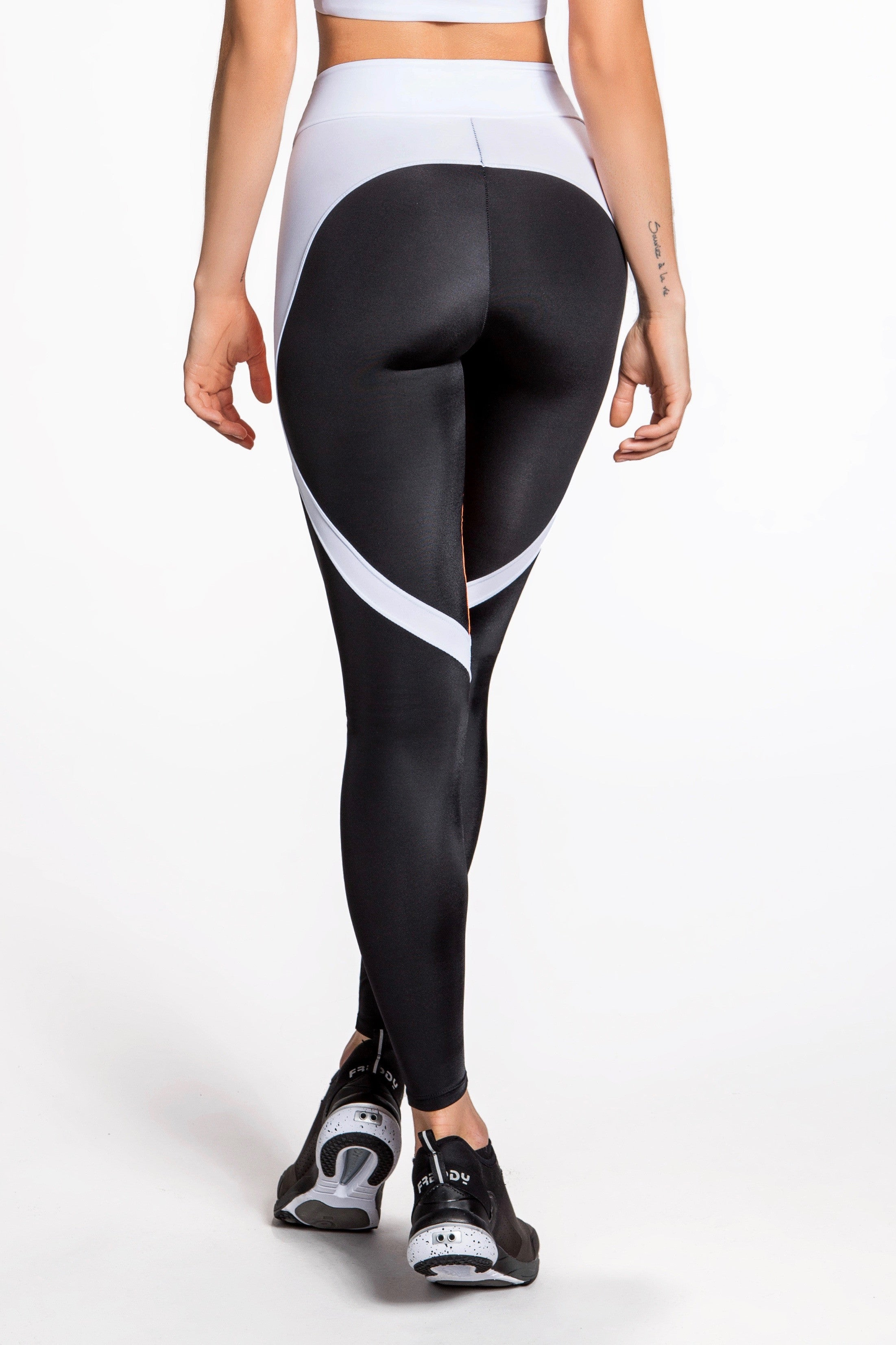 Flexy Feline Leggings - Black/Orange/White