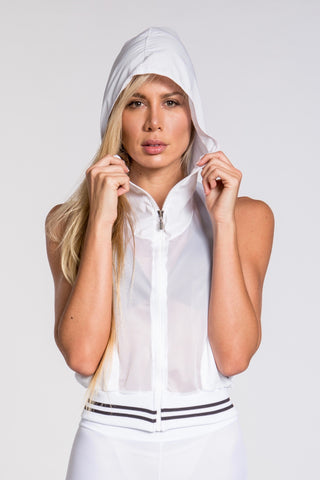 Striker Mesh Crop Cap Top - White